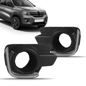 Kit moldura milha Daylight Renault Kwid 2018 a 2020 com pisca