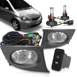 Kit farol de milha Honda Fit 2007 2008 + ultra led