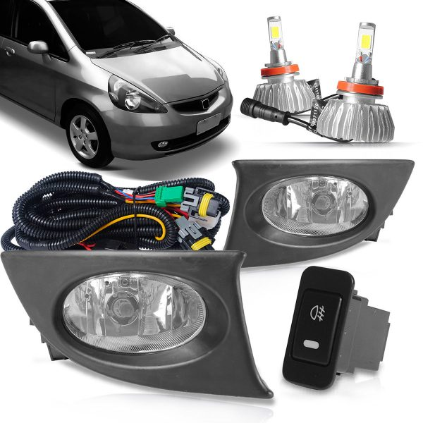 Kit farol de milha Honda Fit 2007 2008 + super led
