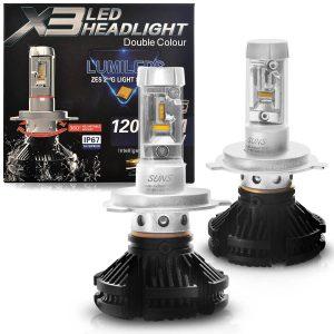 Kit Lâmpada Super LED H4 X3 Headlight Duplo Efeito Xênon