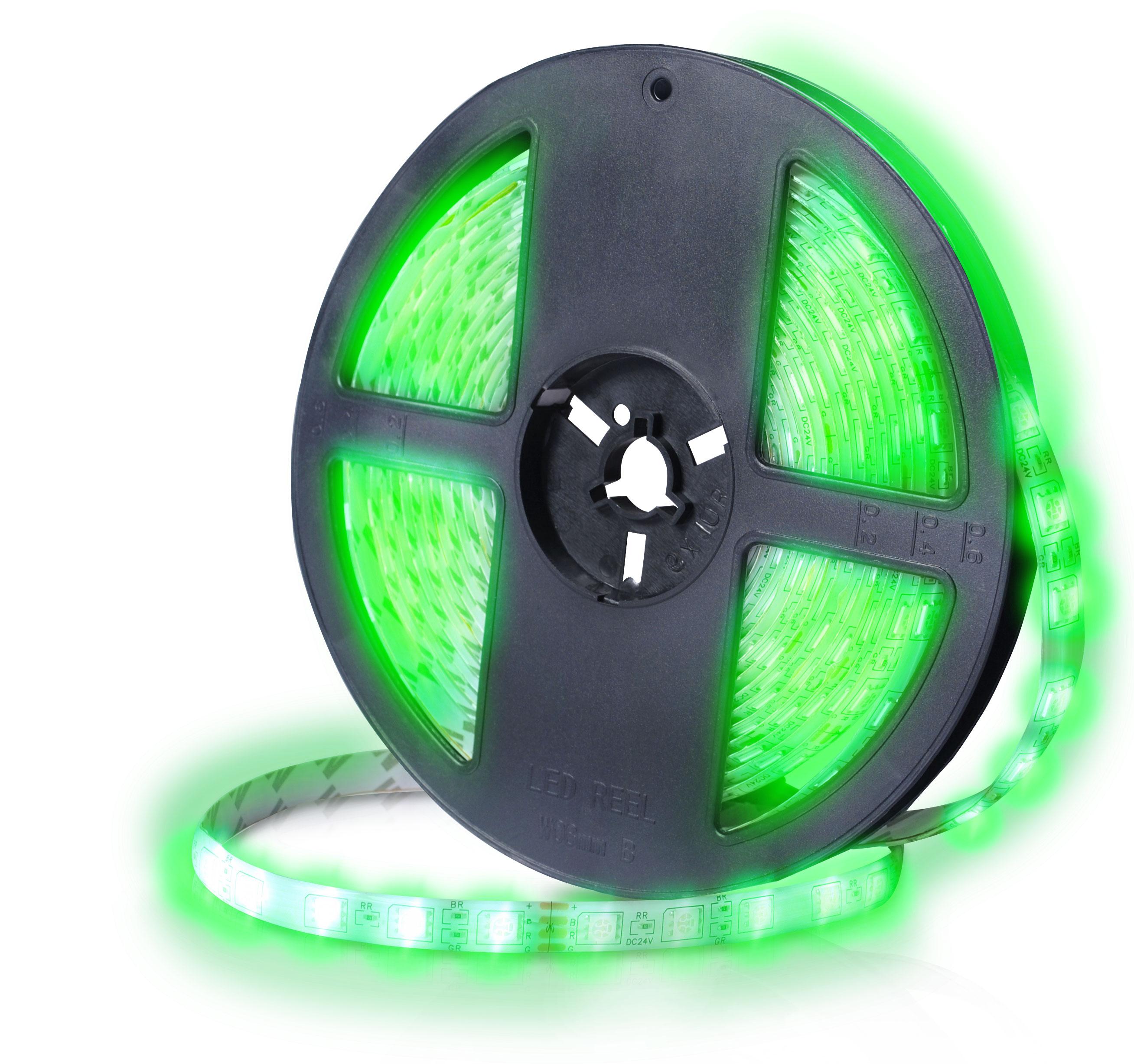 Fita Led Rolo 5m 300 Verde 5050 Leds Prova D'agua Dupla-face